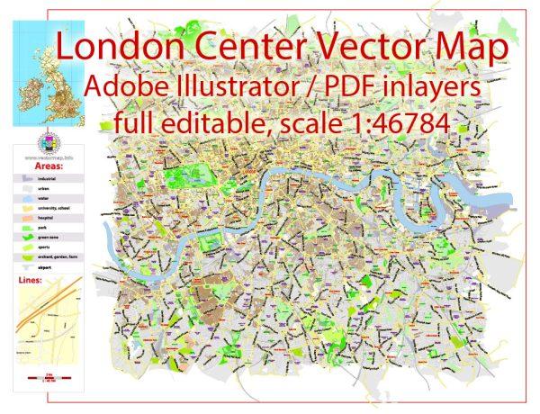 London Center Map Vector UK Exact City Plan low detailed Street Map Adobe Illustrator in layers