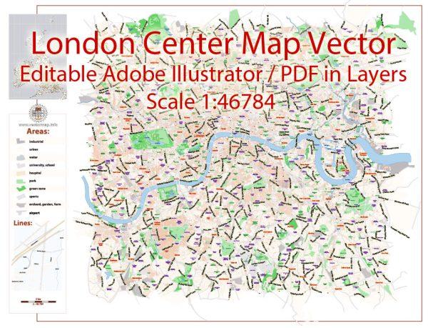 London Center Map Vector UK Exact City Plan Street Map Rose Adobe Illustrator in layers
