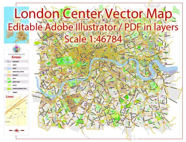 London Center Map Vector UK Exact City Plan Street Map Green Adobe Illustrator in layers