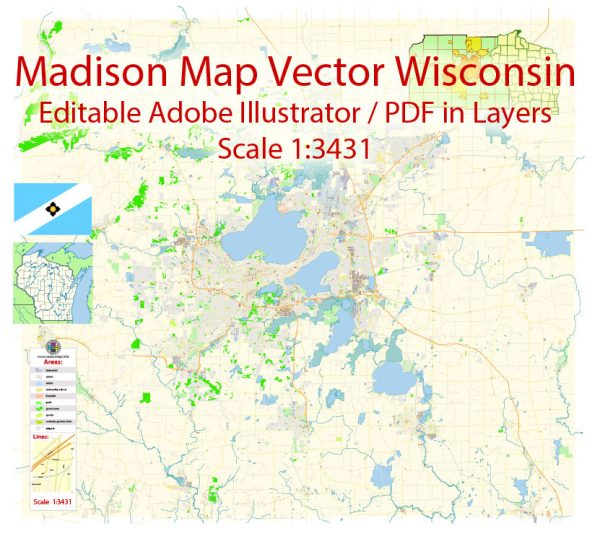 Madison Wisconsin Map Vector Exact City Plan detailed Street Map Adobe Illustrator in layers
