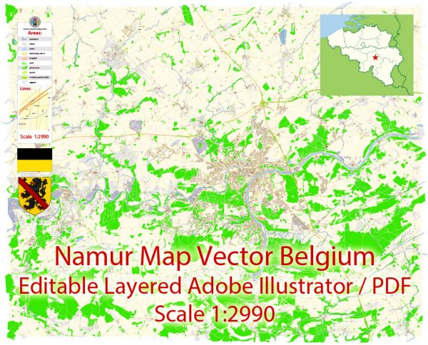 Namur Map Vector Belgium City Plan detailed Street Map Adobe Illustrator in layers