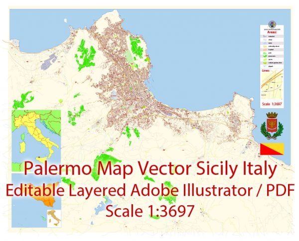 Palermo Italy Map Vector Exact City Plan detailed Street Map Adobe Illustrator in layers