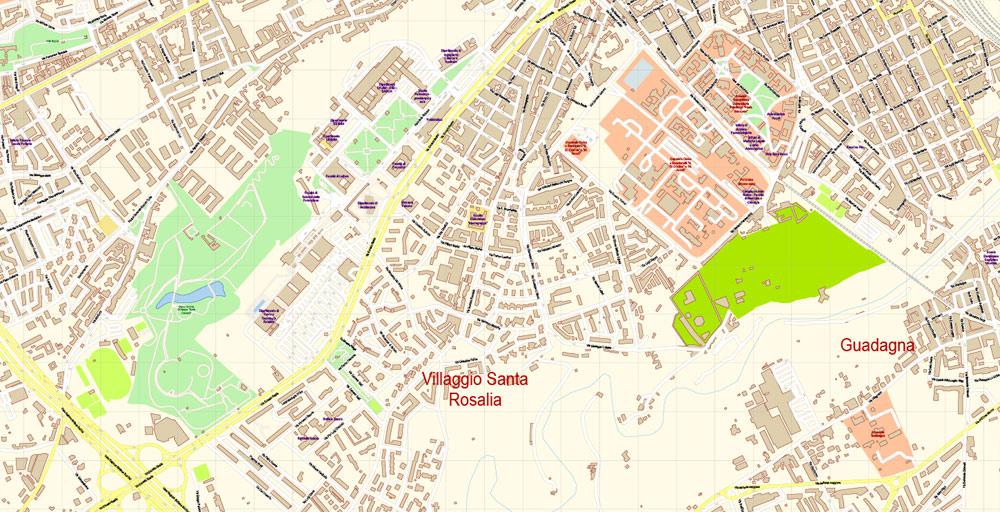 Street map Palermo Sicily ai