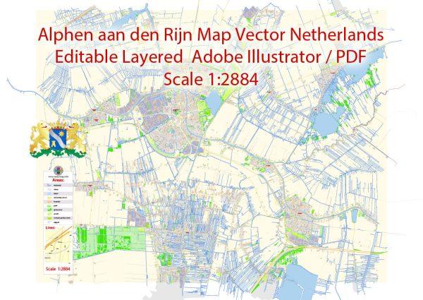 Alphen aan den Rijn Vector Map Netherlands detailed City Plan editable Adobe Illustrator Street Map in layers