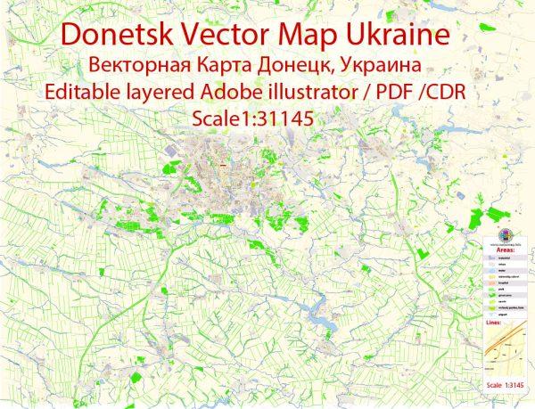 Донецк векторная карта города Donetsk Ukraine подробная редактируемая в слоях Adobe Illustrator