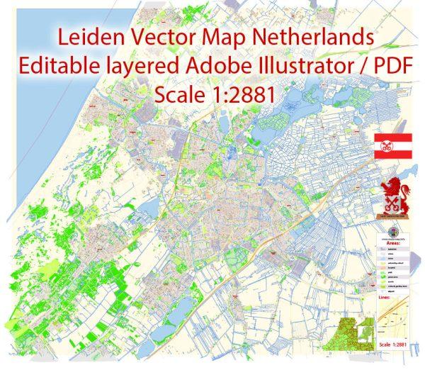 Leiden Map Vector Netherlands Exact City Plan detailed Street Map Adobe Illustrator in layers