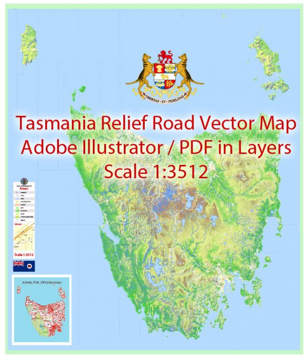 Tasmania full road relief Map Vector Exact Island Plan detailed Street Map Adobe Illustrator in layers
