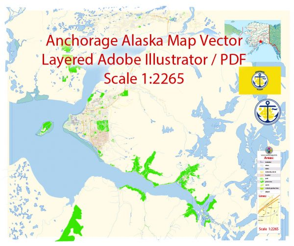 Anchorage Map Vector Alaska Exact City Plan detailed Street Map editable Adobe Illustrator in layers