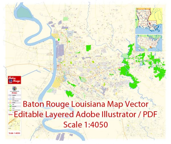 Baton Rouge Map Vector Exact City Plan Louisiana detailed Street Map editable Adobe Illustrator in layers