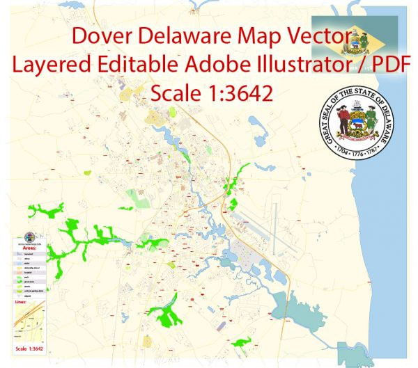 Dover Map Vector Delaware Exact City Plan detailed Street Map editable Adobe Illustrator in layers