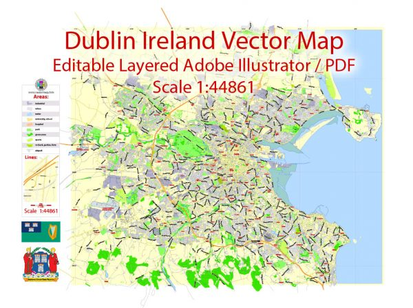 Dublin Map Vector Ireland Exact City Plan Low detailed Street Map editable Adobe Illustrator in layers