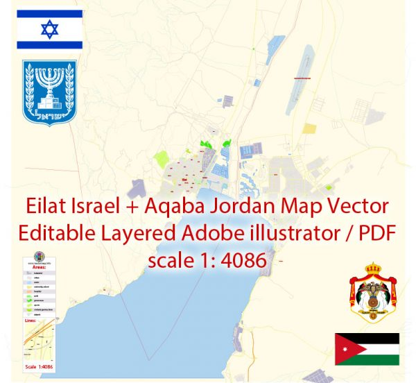 Eilat Israel + Aqaba Jordan Map Vector Exact City Plan detailed Street Map editable Adobe Illustrator in layers