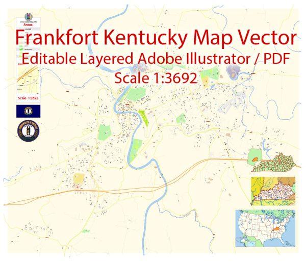 Frankfort Map Vector Exact City Plan Kentucky detailed Street Map editable Adobe Illustrator in layers