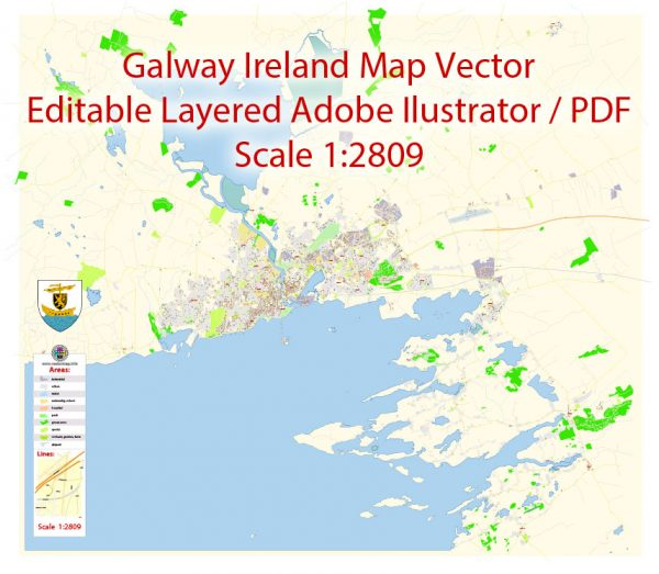 Galway Map Vector Ireland Exact City Plan detailed Street Map editable Adobe Illustrator in layers
