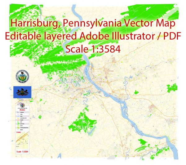 Harrisburg Metro Area Map Vector Exact City Plan Pennsylvania detailed Street Map editable Adobe Illustrator in layers