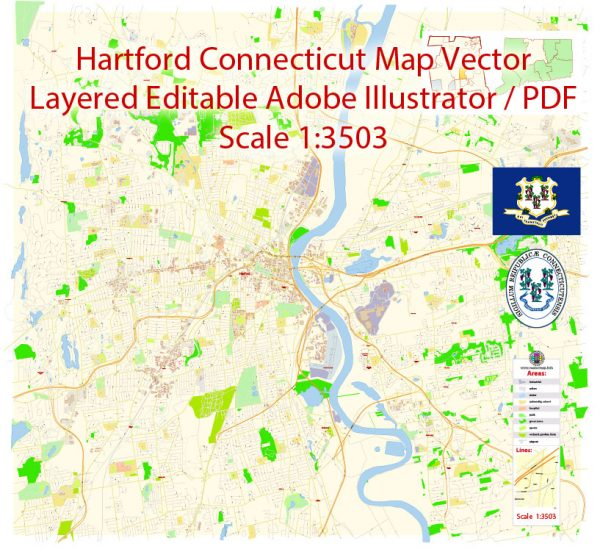 Hartford Map Vector Connecticut Exact City Plan detailed Street Map editable Adobe Illustrator in layers