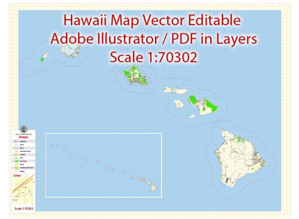 HawaiiIslands Vector Map detailed Plan scale 1:70302 full editable Adobe Illustrator Street Map in layers