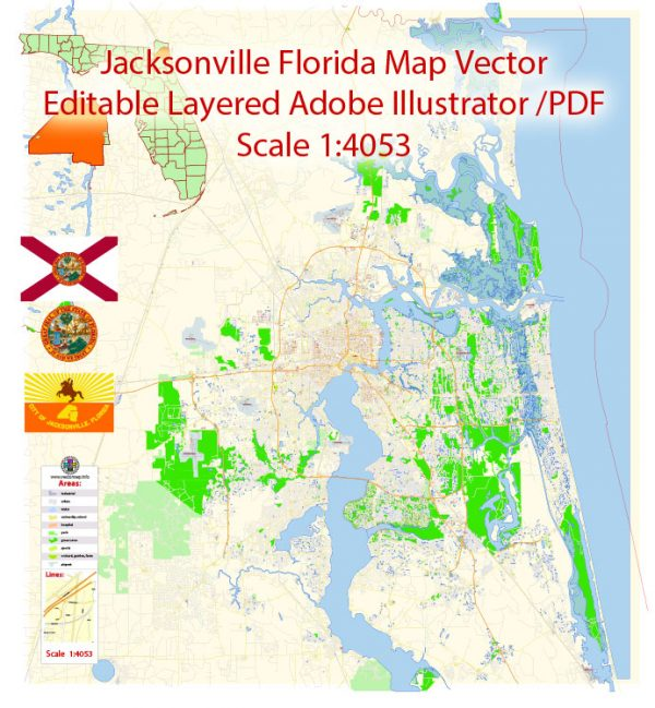 Jacksonville Map Vector Florida Exact City Plan detailed Street Map editable Adobe Illustrator in layers