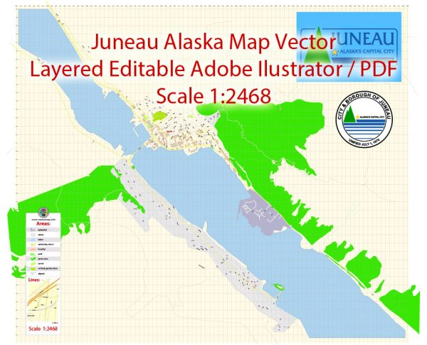 Juneau Map Vector Alaska Exact City Plan detailed Street Map editable Adobe Illustrator in layers