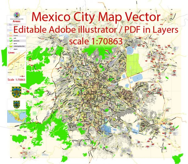 Mexico City Map Vector Exact City Plan Low detailed Street Map editable Adobe Illustrator in layers