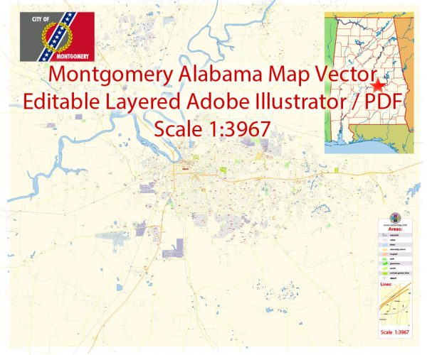 Montgomery Map Vector Alabama Exact City Plan detailed Street Map editable Adobe Illustrator in layers