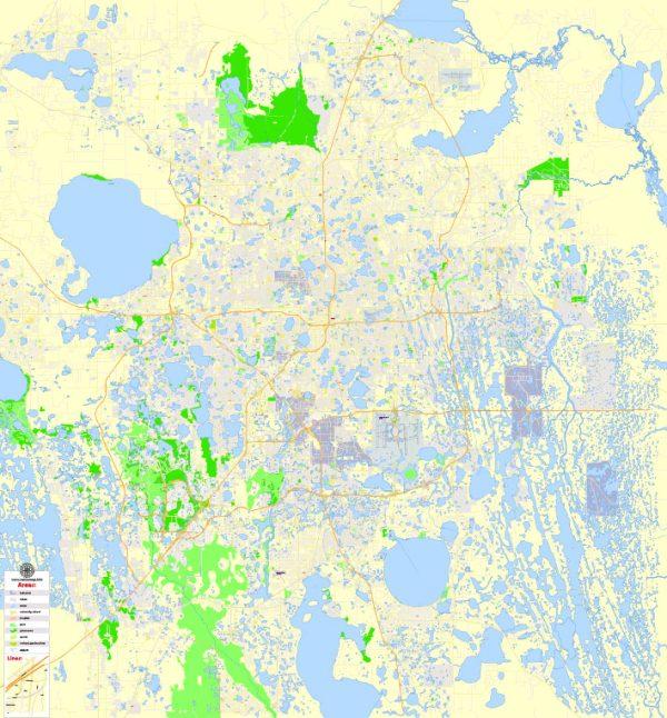 Orlando Map Vector Florida Exact Sim City Plan detailed Street Map editable Adobe Illustrator in layers