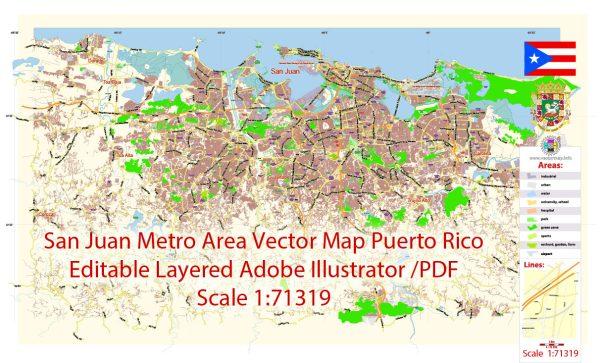 San Juan Metro Area Map Vector Exact City Plan Puerto Rico low detailed Street Map editable Adobe Illustrator in layers