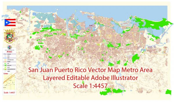San Juan Metro Area Map Vector Exact City Plan Puerto Rico detailed Street Map editable Adobe Illustrator in layers