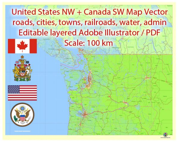 US NW part + Canada SW part Map Vector Exact Road Admin detailed Map editable Adobe Illustrator in layers