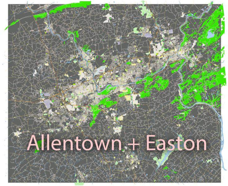 Allentown + Easton Pennsylvania US: Free download vector map of Allentown + Easton Pennsylvania in Ai, PDF, SVG