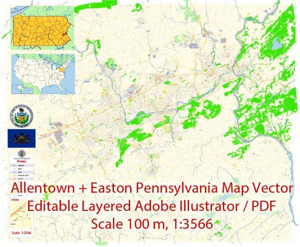 Allentown and Easton Pennsylvania Map Vector Exact City Plan detailed Street Map editable Adobe Illustrator in layers