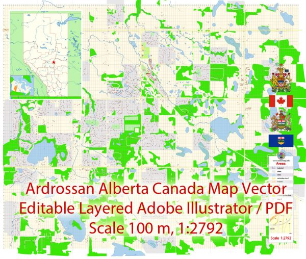 Ardrossan Alberta Map Vector Exact City Plan detailed Street Map editable Adobe Illustrator in layers