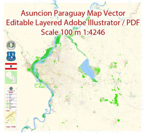 Asuncion Paraguay Map Vector Exact City Plan detailed Street Map editable Adobe Illustrator in layers