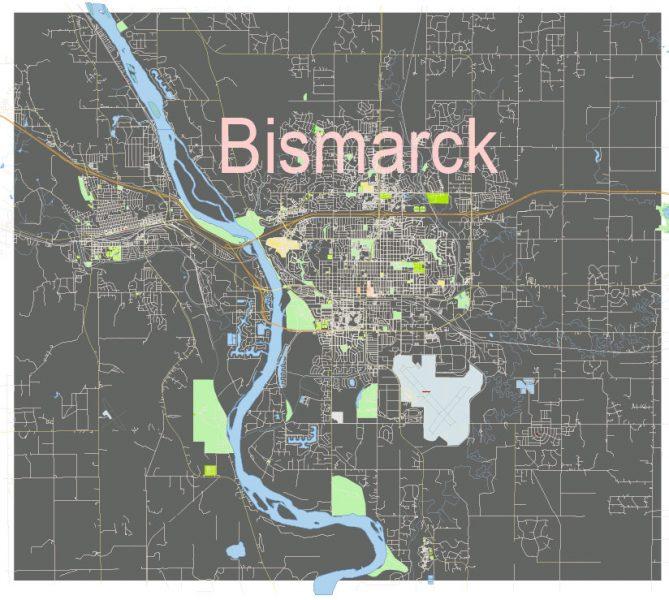 Bismarck North Dacota US: Free download vector map of Bismarck North Dacota US in Ai, PDF, SVG