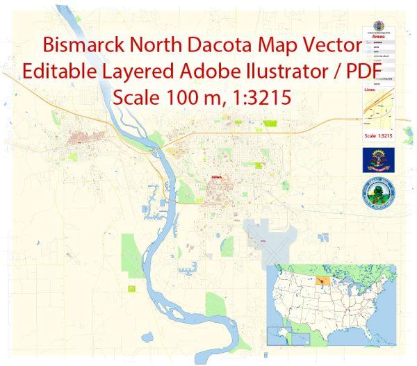 Bismarck North Dakota Map Vector Exact City Plan detailed Street Map editable Adobe Illustrator in layers
