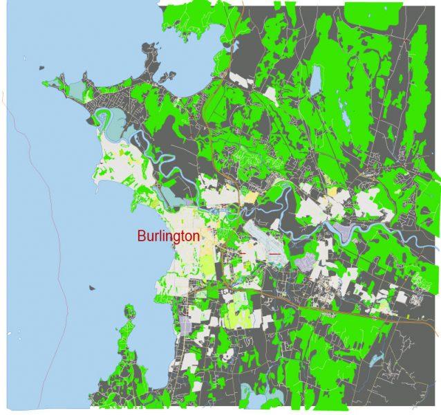 Burlington Vermont US: Free download vector map of Burlington Vermont US in Ai, PDF, SVG