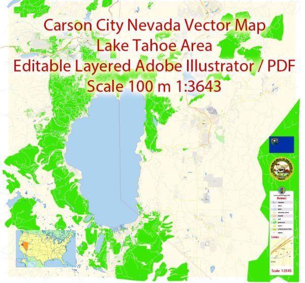 Carson City Nevada Map Vector Exact City Plan detailed Street Map editable Adobe Illustrator in layers