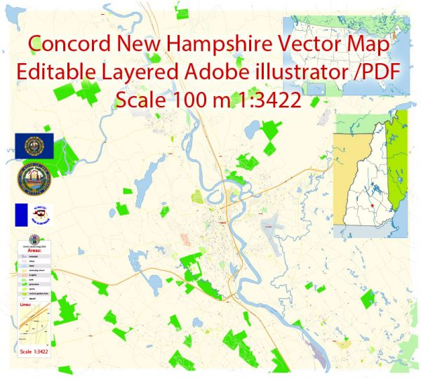 Concord New Hampshire Map Vector Exact City Plan detailed Street Map editable Adobe Illustrator in layers