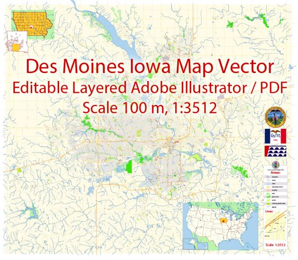 Des Moines Iowa Map Vector Exact City Plan detailed Street Map editable Adobe Illustrator in layers