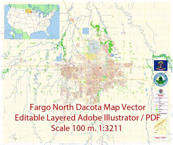 Fargo North Dakota Map Vector Exact City Plan detailed Street Map editable Adobe Illustrator in layers