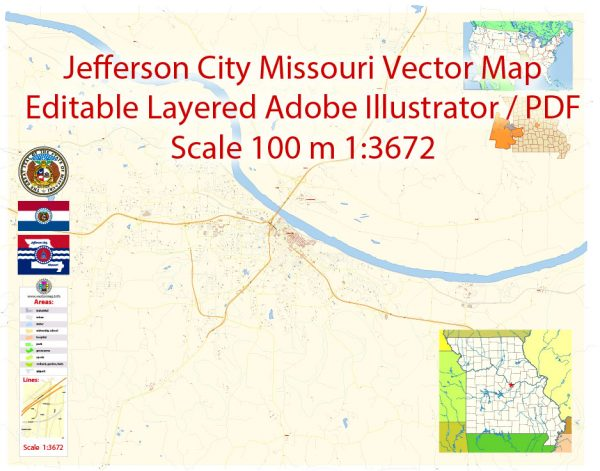 Jefferson City Missouri Map Vector Exact City Plan detailed Street Map editable Adobe Illustrator in layers