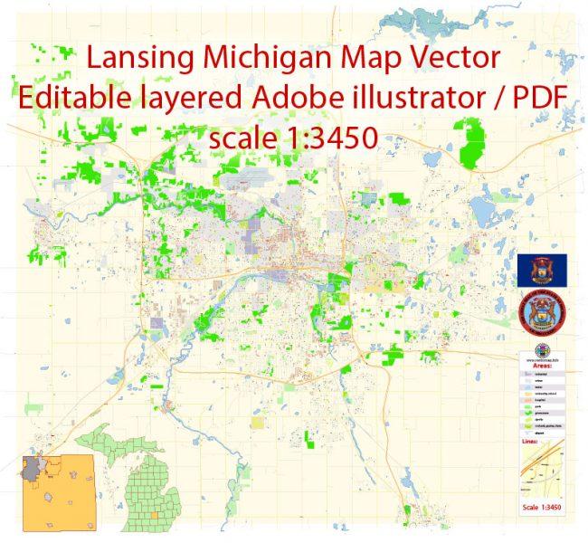 Pdf map Lansing Michigan PDF