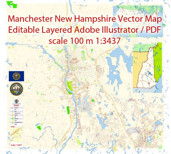 Manchester New Hampshire Map Vector Exact City Plan detailed Street Map editable Adobe Illustrator in layers