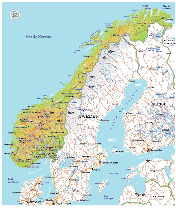 Norway Map Vector printable admin topo full editable Adobe Illustrator