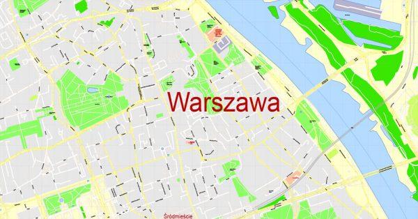 Map Warsaw (Warszawa), Poland, exact vector street G-View Level 17 (100 meters scale) map, V.08.12. fully editable, Adobe Illustrator