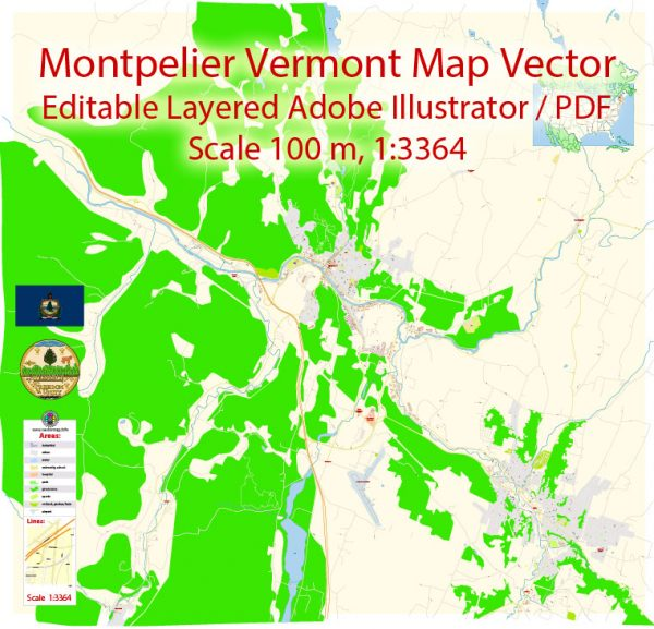 Montpelier Vermont Map Vector Exact City Plan detailed Street Map editable Adobe Illustrator in layers