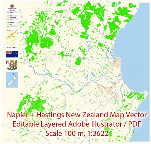 Napier + Hastings New Zealand Map Vector Exact City Plan detailed Street Map editable Adobe Illustrator in layers