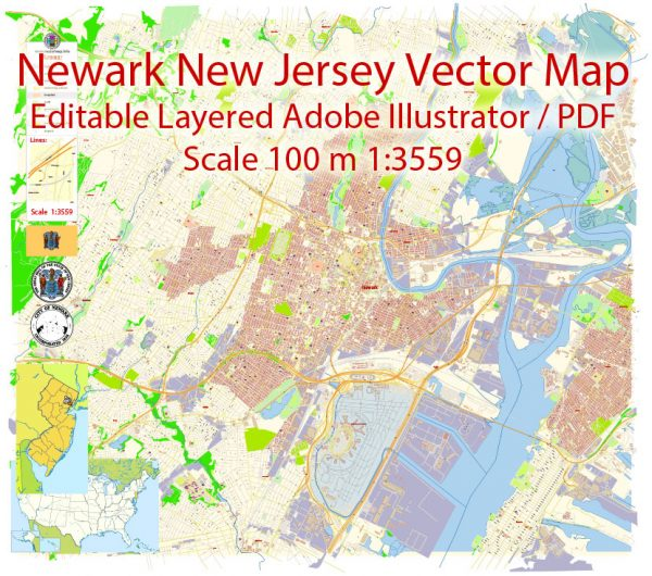 Newark New Jersey Map Vector Exact City Plan detailed Street Map editable Adobe Illustrator in layers