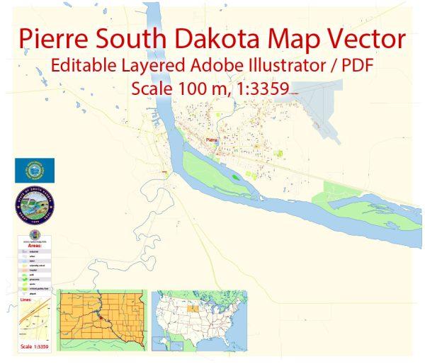 Pierre South Dakota Map Vector Exact City Plan detailed Street Map editable Adobe Illustrator in layers
