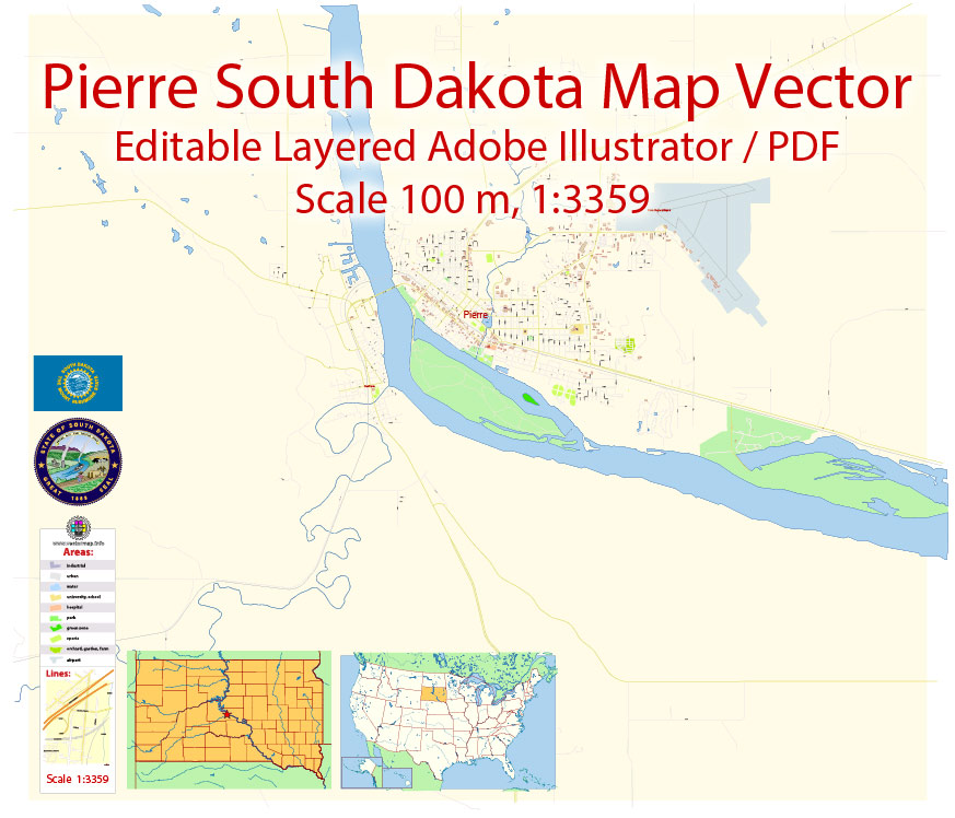 Street map Pierre South Dakota